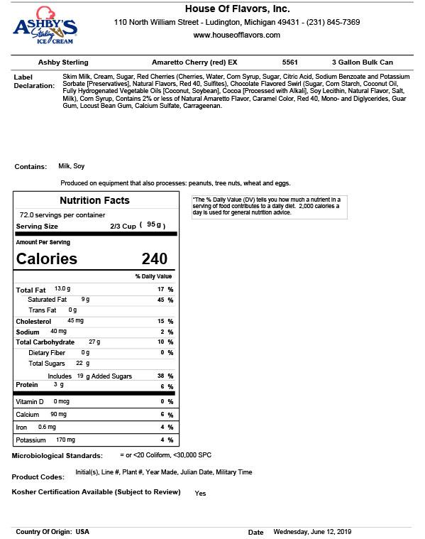 CALC RECIPE - NUTRITIONAL INFO